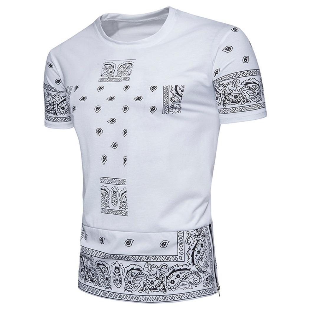Longra Herren T-Shirt Cashew-Blume Print-Shirts Ethno Crew Neck Rundhals Basic Shirt Mauml;nner Mode Hiphop Hemd Top Oversize Herren Vintage T-Shirt  S|White