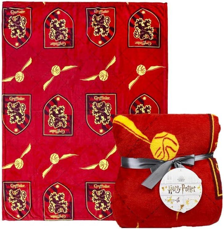 Harry Potter | Manta Exclusiva Premium | Cama O Sofá | Manta Acogedora Y Cálida De Felpa Suave | Viajar O En Casa | (Gryffindor Rojo 120 x 160 CM)