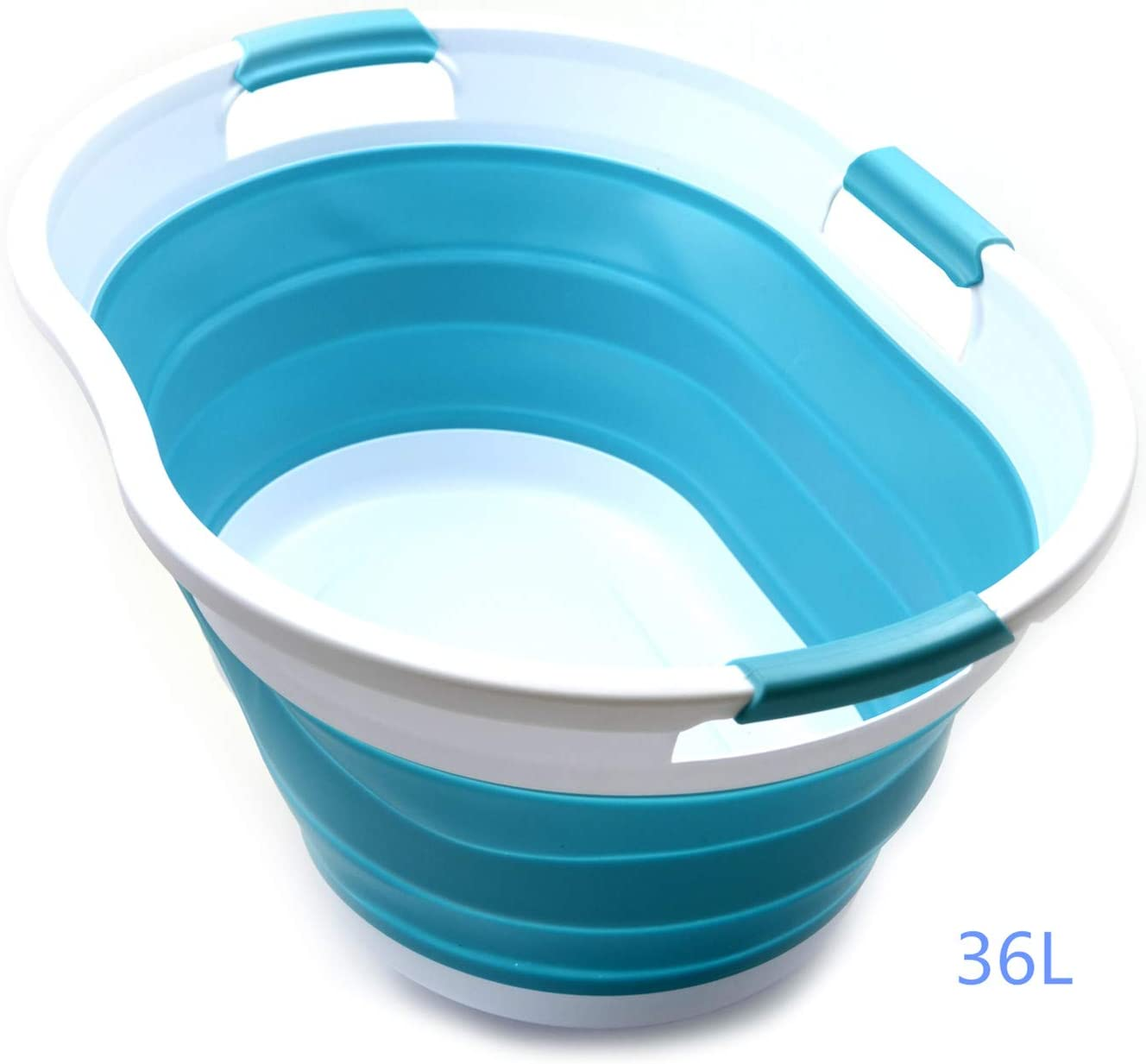 SAMMART 36L (9.5 Gallon) Collapsible 3 Handled Plastic Laundry Basket-Foldable Pop Up Storage Container-Portable Washing Tub-Space Saving Basket/Water Capacity 27L/7.1 Gallon (1, Bright Blue)