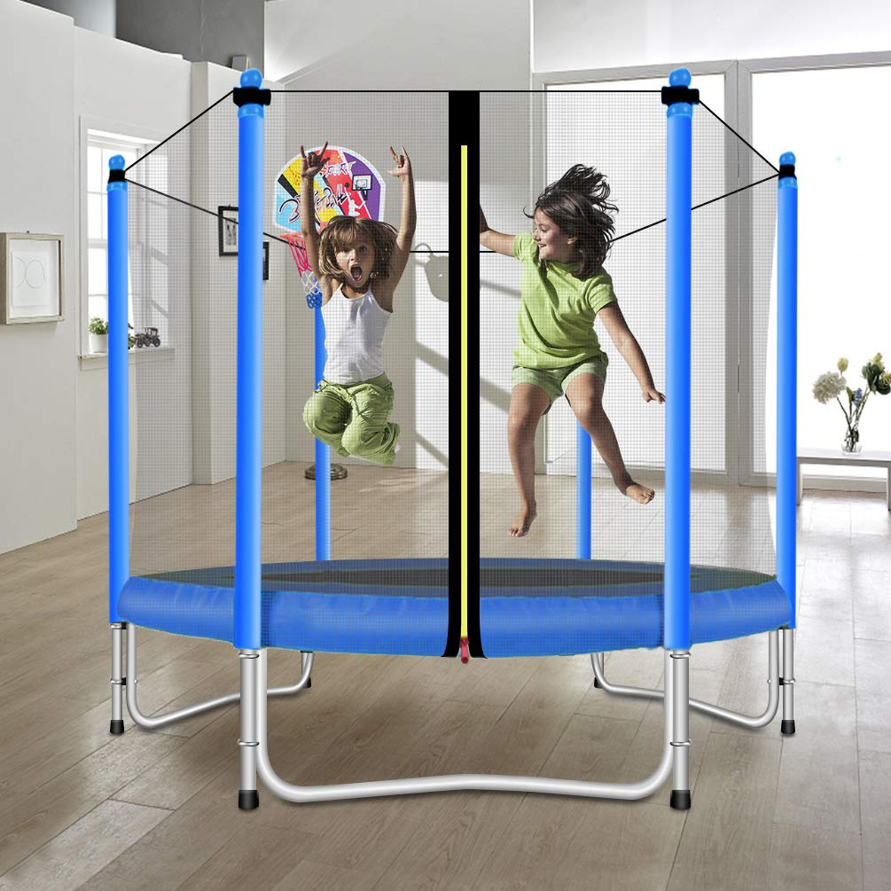 Lovely Snail Trampoline with Basketball Hoop-Trampoline for Kids-Blue-5 Feet by Lovely Snail (Image #3)