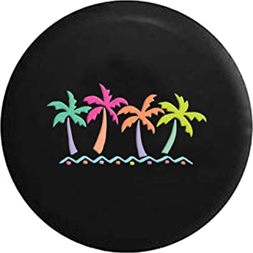 Universal Spare Tire Cover Wheel Protectors Dust-Proof Waterproof Black Leather Pattern Beach Horizon Palm Tree Fit For Camper Travel Trailer Rv Suv Truck 14 Inch