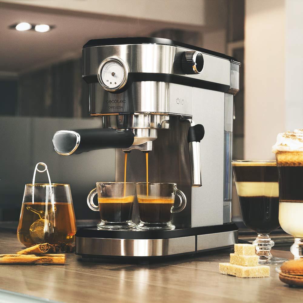 Cecotec Cafetera Express Cafelizzia 790 Steel Pro. Acero Inoxidable, Sistema Thermoblock, 20 Bares, ModoAuto 1 y 2 Cafés, Vaporizador Orientable, ...
