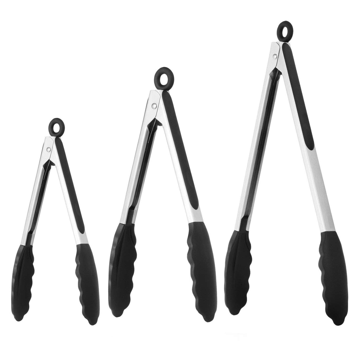 Kitchen Tongs - Set of 3-7, 9, 12 Inch,Silicone Food Tongs-Non-slip, Stainless Steel Cooking Tongs-Smart Locking Clip-Heat Resistant,Food Grade-Handy Utensils For Barbecue,Frying,Salad,Ice (Black) US-zhongchuang
