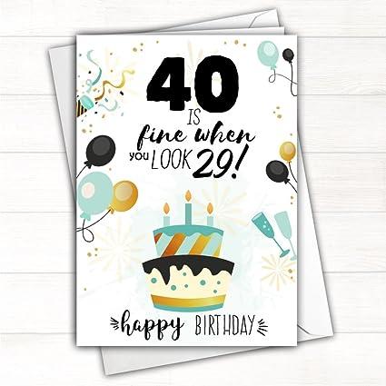 Happy 40th Tarjeta de felicitación de cumpleaños 40 I Fine ...