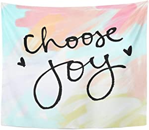FJPT Simple Design Tapestry Colorful Watercolor Choose Joy Brush Handwriting Creative Home Decor Wall Hanging Tapestries for Living Room Bedroom Dorm 51.2