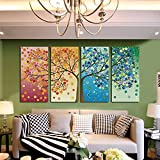 GEVES Unframed Large HD 4 Pieces Colorful Trees Abstract Oil Paintings Wall Art Picture Modern Home Decor Living Room or Bedroom Canvas Print Painting