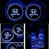 YenCar 車用 LED ドリンクホルダー レインボーコースター 車載 ロゴ ディスプレイライト LEDカーカップホルダー マットパッド (ホンダ Honda)