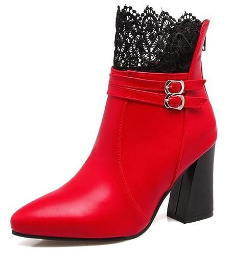 Aisun Damen Kunstleder Kurzschaft Plateau Blockabsatz High Heels Stiefel Mit Reißverschluss Rot 36 EU H6LrTA4bNh