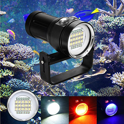 (YunZyun Diving Flashlight Scuba Diving Flashlight 15x XM-L2+6X R+6X B 20000LM LED Photography Video Scuba Diving Flashlight Torch Waterproof Underwater Torch for Outdoor Under Water Sports (Black) )