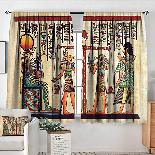 Elliot Dorothy Blackout Curtains Egyptian,Papyrus with Egyptian Ancient Manuscript and Historical Scenery Picture Print,Multicolor,Rod Pocket Curtain Panels for Bedroom & Kitchen 42