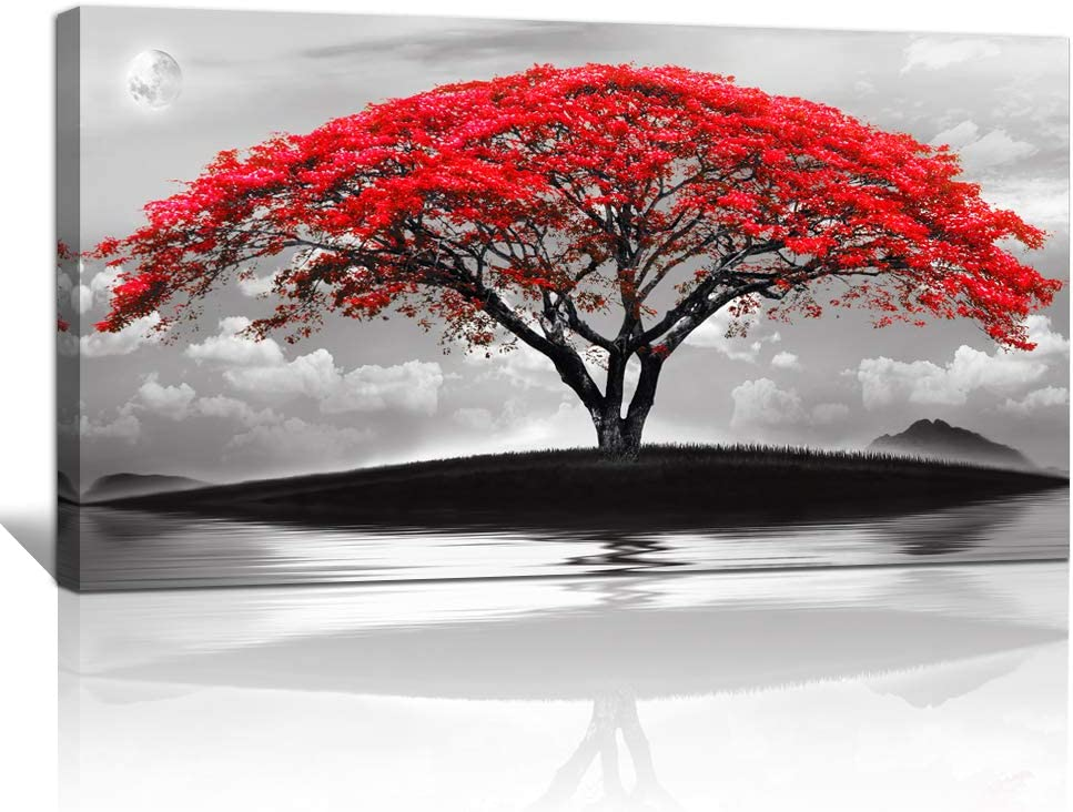 "canvas wall art for living room bathroom Wall Decor Black and white landscape red tree moon scenery Hang painting Home Decorations for office bedroom kitchen Works canvas Prints pictures 20"" x 40""inch"