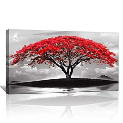 Fine Canvas Wall Art For Living Room Bathroom Wall Decor Black And White Landscape Red Tree Moon Scenery Hang Painting Home Decorations For Office Bedroom Download Free Architecture Designs Lukepmadebymaigaardcom