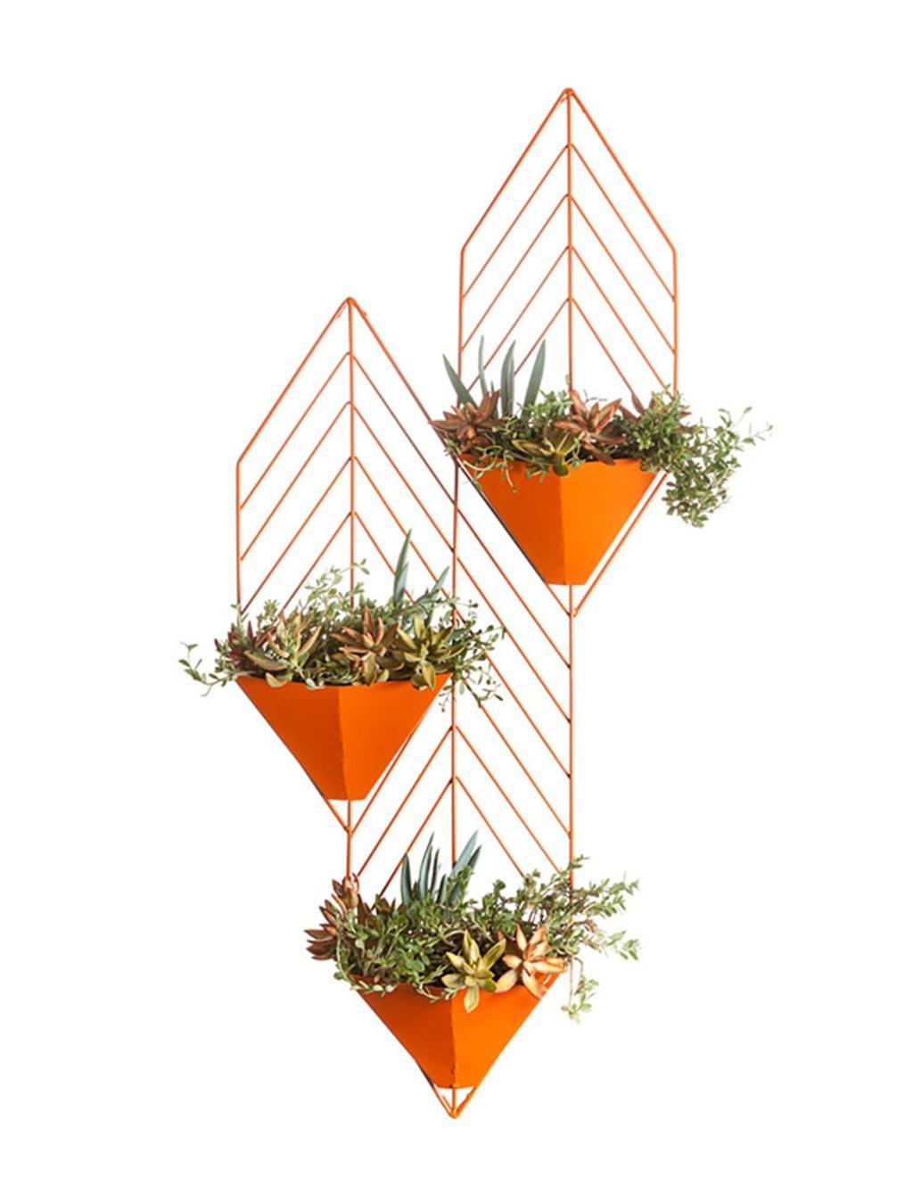 HZA Eisen-Wand-hängendes Dreistufiges hängendes Orchidee-Blumen-Gestell, Wand-hängendes grünes Rettich-Blumen-Regal Hochwertige Materialien ( farbe : Orange )