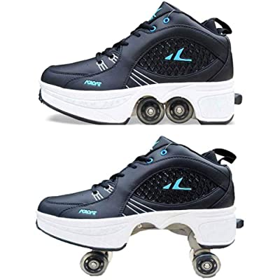 MLyzhe Double Row Deform Wheel Deformation Roller Walking Shoes Automatic Walking Invisible Skating Trainer Sneakers,41: Home & Kitchen