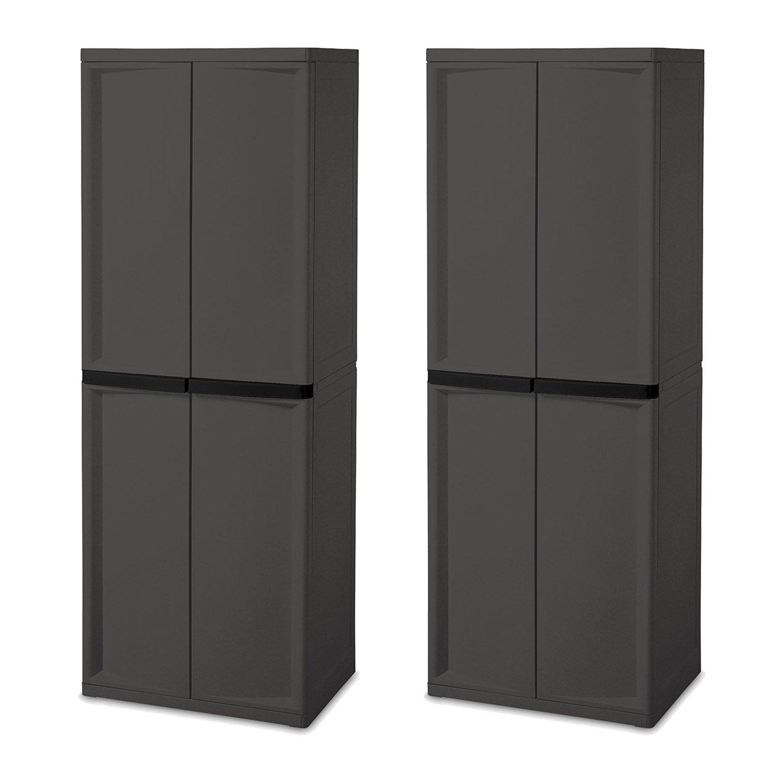 Sterilite Adjustable 4-Shelf Gray Storage Cabinet with Doors, 2 Pack   01423V01