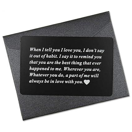 Vanfeis Engraved Metal Wallet Mini Love Note Insert Card