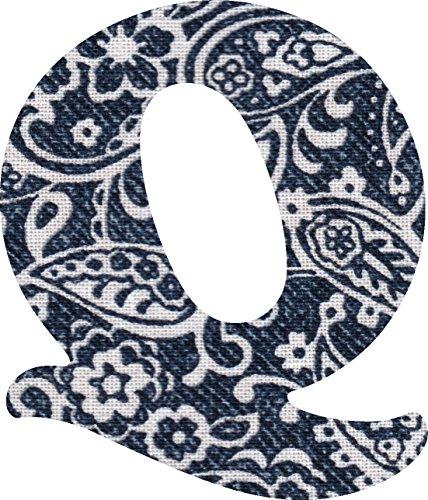 ペイズリー柄 生地 アルファベット Q アップリケ ネイビー アイロン接着可能 大文字 5cmの商品画像