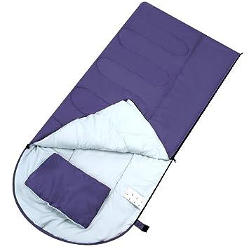 Enkeeo - Saco de Dormir Rectangular Ultraligero para Acampada (Almohada Incluida, Cremallera lateral Derecha Acoplable a otro Saco, Forro Poliéster y ...