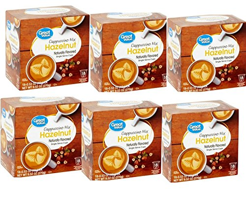 Great Value Hazelnut Cappuccino Mix Single Serve Cups, 0.53 oz,18 count (Pack of 6 ) by Great Value