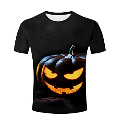 0b8860672 Amazon.com: xijia custom Mens 3D T Shirts Printed Halloween Fluorescence  Ghost Prank Graphics Tees Shirts: Clothing
