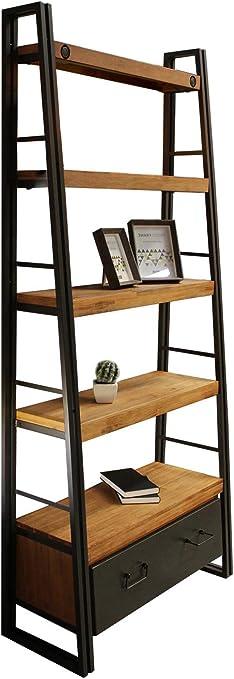 Meubletmoi - Estantería inclinada de estilo industrial con 5 bandejas y 1 cajón, madera maciza de acacia y metal, diseño vintage Factory