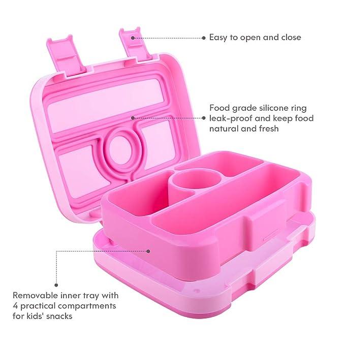 WayEee Caja Bento para Niños Caja de Almuerzo 4 Compartimentos Sin ...