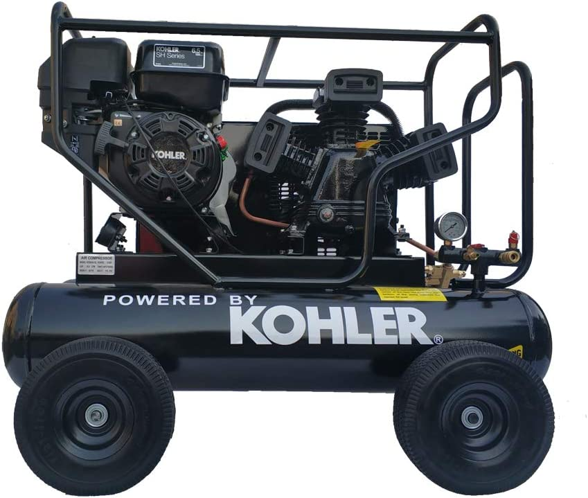HPDAVV Gas Driven Piston Air Compressor 6.5HP - One Stage - Fit For KOHLER RH65 Engine - 20Gal Tank - 17cfm @ Max 125psi - Cart Style Portable Compressed System W-0.5/8P RH65
