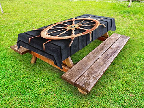 Captain Control (Lunarable Ships Wheel Outdoor Tablecloth, Old Trawler Steering Wheel Hardwood Timber Wall Control Captain, Decorative Washable Picnic Table Cloth, 58 X 120 inches, Charcoal Grey Sand Brown)