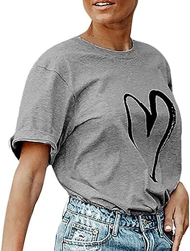 OHQ Camisetas Mujer Camiseta con Manga Corta Estampada De ...