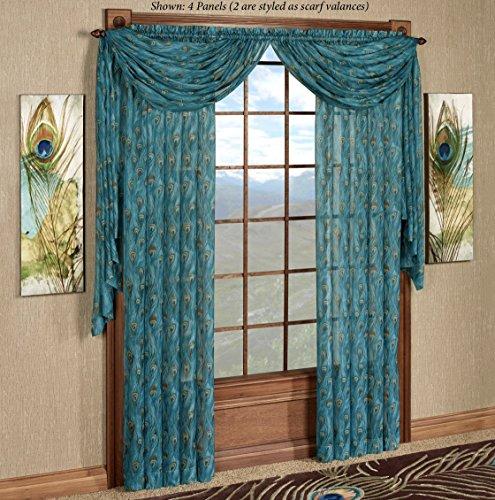CHF Industries King Peacock Sheer Curtain Panel Sapphire