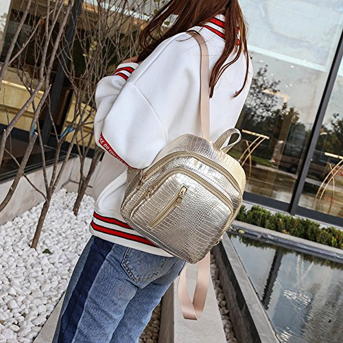 Shoulder Softmusic Fashion Bag Girls Women Small Crocodile Leather Backpack Grain Faux Golden wfFY7q