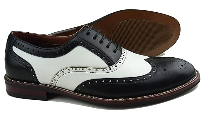 1950s Mens Shoes: Saddle Shoes, Boots, Greaser, Rockabilly Ferro Aldo Mens Causal Wingtip Oxfords Modern Spectator Style $39.99 AT vintagedancer.com