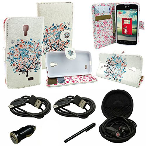 (Mstechcorp- For LG Access LTE / LG L31G / LG L31L / LG L31C / F70 - Design Dual-Use Flip PU Leather Fold Wallet Pouch Case Includes [Car Charger] + [Touch Screen Stylus] + [Hands Free Earphone With Carrying Case] + [2 Data Cables] (GIFT TREE))