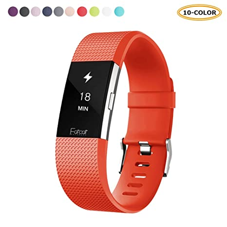 FatcatBand Bracelet Fitbit Charge 2, Bande en Silicone Souple Sangle de Remplacement Reglables Sport Accessorie pour Montre Connectée Fitbit Charge 2: ...