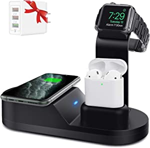 Yestan Wireless Charger Designed for Apple Watch Stand Compatible with Apple Watch Series 5 4 3 2 1, AirPods Pro Airpods and iPhone 11 11 pro 11 Pro Max Xs X Max XR X 8 8Plus - Black