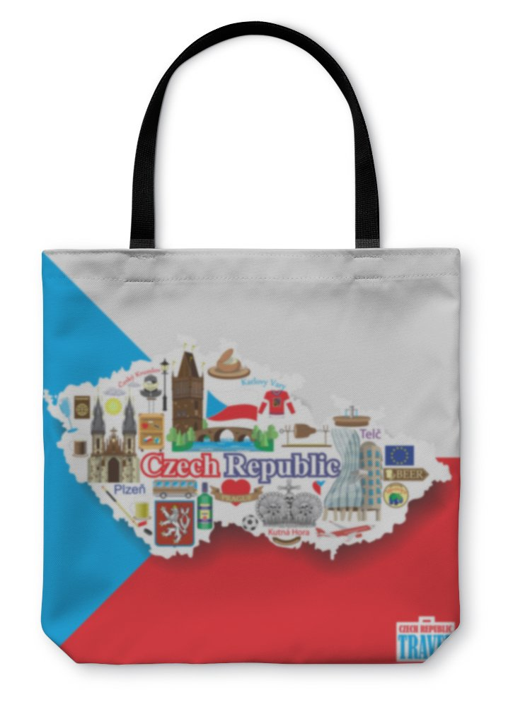 Gear New Shoulder Tote Hand Bag, Czech Republic Set Landmarks Icons And Symbols In Form Of Map, 18x18, 5574934GN