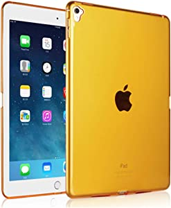"""iCoverCase Compatible with iPad Pro 9.7 (2016) Case, Ultra-Thin Silicone Back Cover Clear Plain Soft TPU Gel Rubber Skin Case Protector Shell for iPad Pro 9.7"""" (2016) (Orange)"""