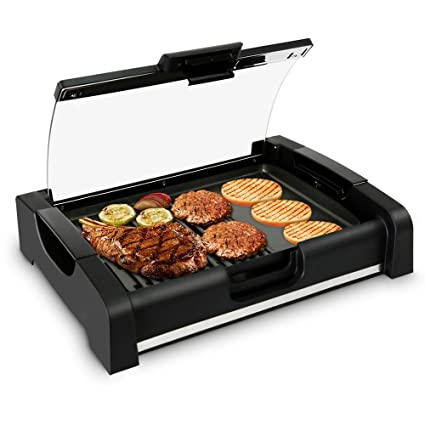 Beau NutriChef Electric Griddle   Dual Hot Plate Cooktop Crepe Maker With Grill  U0026 Glass Lid