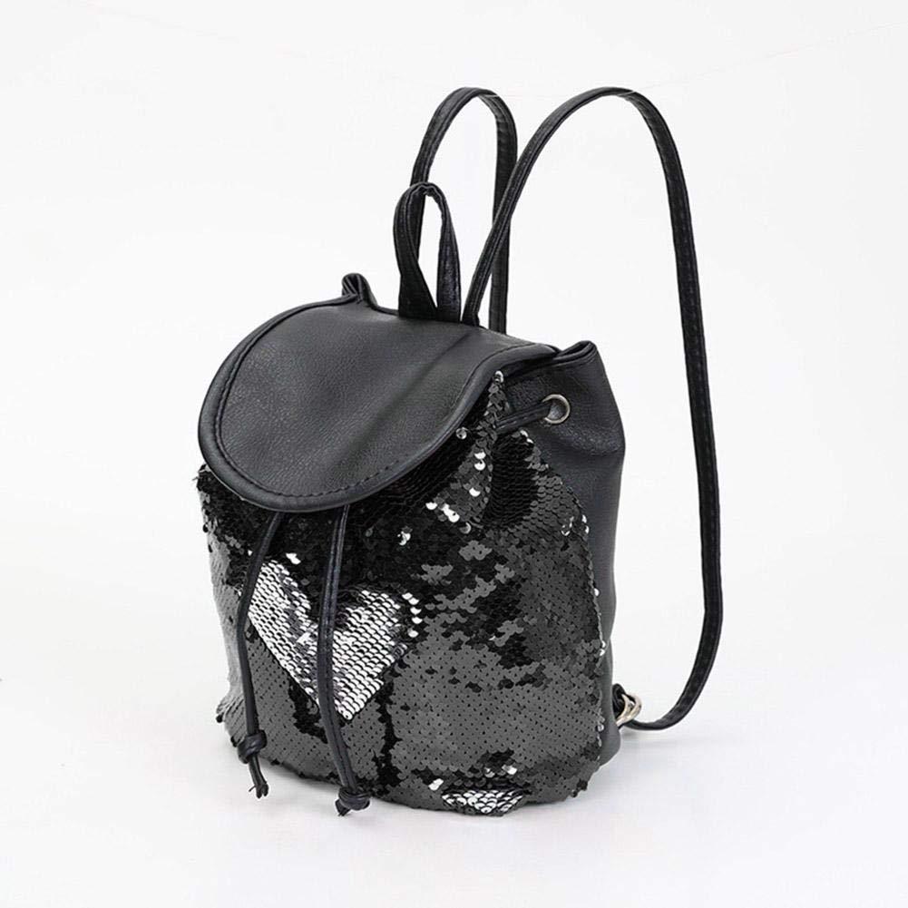 Tuankay Sequins Backpack Girls Schoolbags Fashion Preppy Drawstring Shoulder Bag