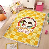MeMoreCool Colorful Pattern Design Kids Playing Mat,Cartoon Living Room/Bedroom Cotton Area Rugs,Protective and...