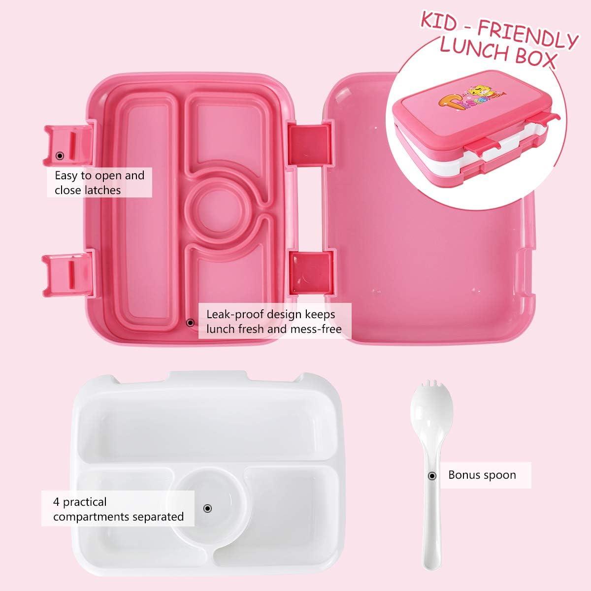 sans BPA//Microondes//Cong/élateur OldPAPA Bo/îte /à Bento pour Enfants Boite Bento 800ML avec 4 Compartiments Container Set Viennent avec Sac Isotherme Bouteille deau