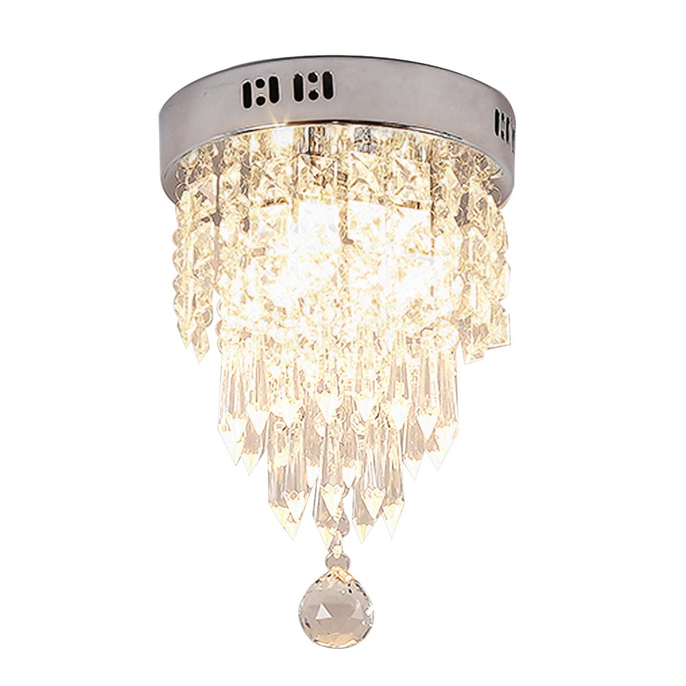 Lightess Mini Chandelier Lighting 3-Light Flush Mount Crystal Ceiling Light Modern Chandeliers for Dining Room Bedroom, DY-A23