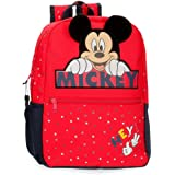 Disney Mochila Happy Mickey 32 cm Adaptable a Carro, Rojo
