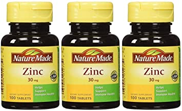 Nature Made Zinc 30 mg - 100 Tablets, Pack of 3