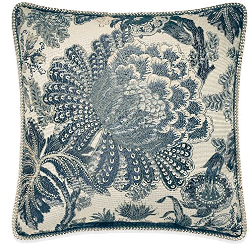 Croscill Marietta Decorative Square Throw Pillow, Blue and Ivory Floral Pattern, 18