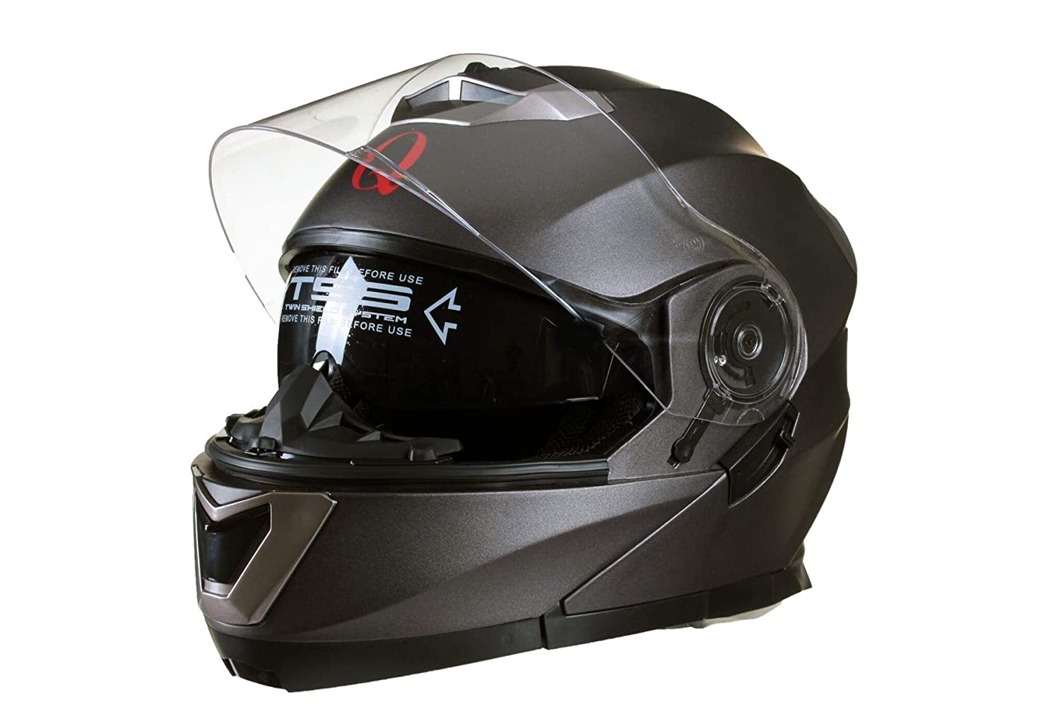 Qtech MODULAR Flip-Up Motorcycle Helmet with Double Visor Matt BLACK Large 59-60cm