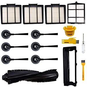 aoteng Accessories Kit for Shark ION R85 RV850 RV850BRN RV850WV S87 RV851WV RV700_N RV720_N RV750_N Robot Vacuum Cleaner Replacement Parts Pack of Main Brush, Hepa Filter, Side Brush, Main Brush Cover