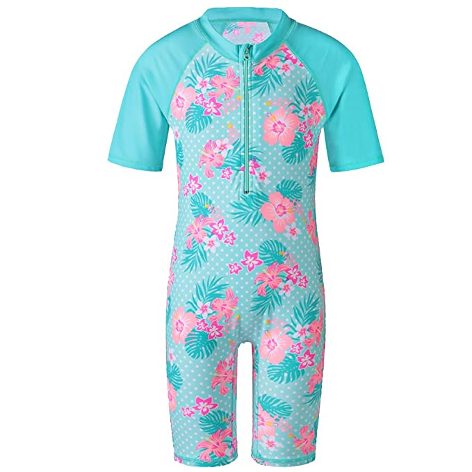 d49055d3ab TFJH E Girls Swimsuit Rashguard Suit UPF 50+ UV One Piece,Cyan Short 2A