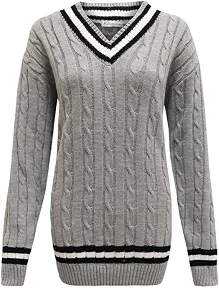 Crazy Girls New Ladies V Neck Cable Knitted Cricket Jumper Womens Stretch Long Sleeve Stripe Top