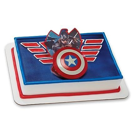 Amazoncom Decopac Captain America Shield Ring DecoSet Cake Topper